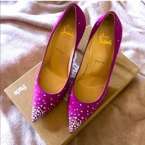 Louboutin Degrastrass 100mm Pink Suede Shoes
